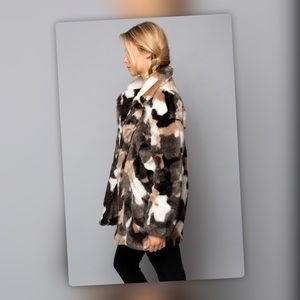 Stunning Multicolor Natural Tones Faux Fur Coat